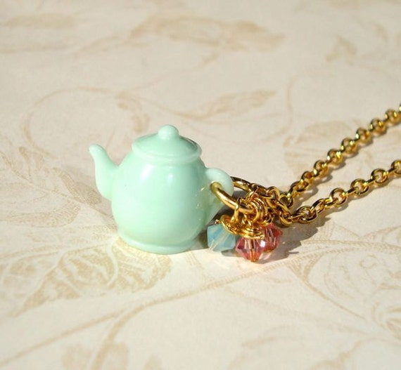 Mint Green Teapot Necklace - I'm a little Teapot - Alice in Wonderland Tea Party