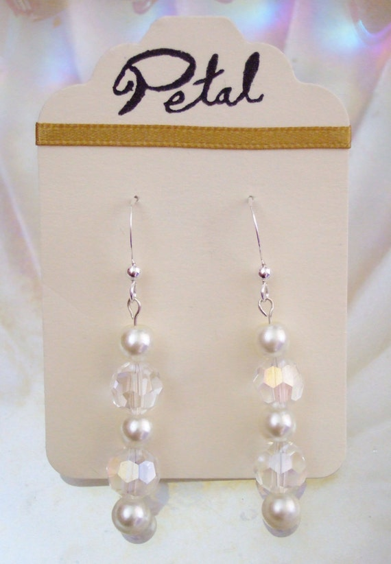 Bead & Pearl L Sterling Silver earrings (Swarovski beads and pearls) - Amethyst, Blush, Crystal, Jet, Ocean, Plum, Rose or Scarlet (PPC02)