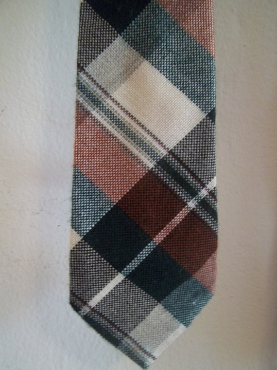 Vintage Preppy Tie - Brown, Green & White