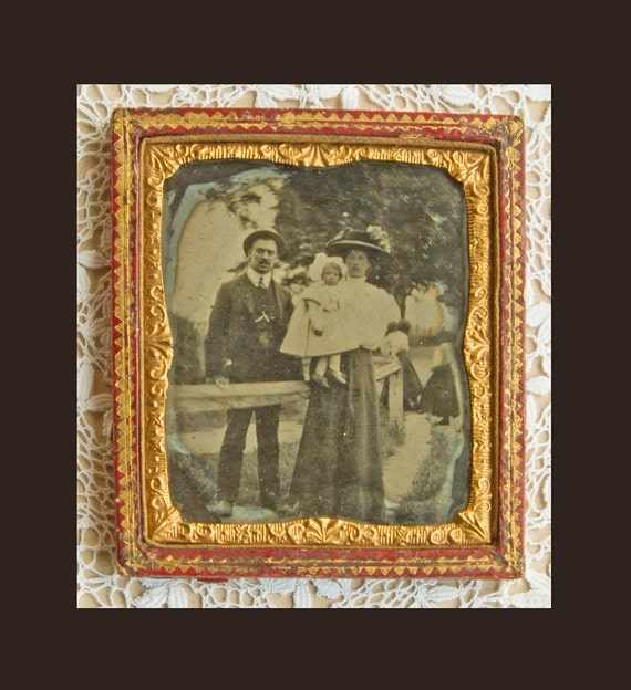 Antique Tin Type Photograph - Victorian Family group in a Paddock - circa 1890 -1900 - Sealed Case