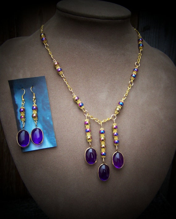 Free shipping with your mini order, Beautiful Goddess Beaded Necklace and Earrings Set by Sherry of 19th Day Miniatures