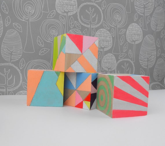Ornament Geometric Neon Art Blocks x 4