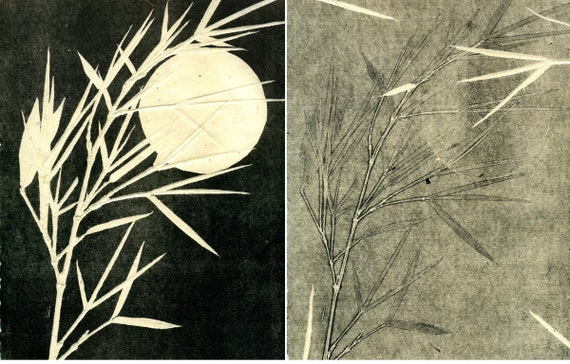Romancing the Moon, ooak monoprint on handmade paper