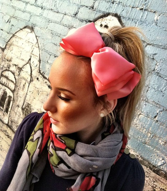 1f2fedf2f2b Take a Bow - Large Satin Coral Bow Headband - Statement Headband head bands  Hair Coverings