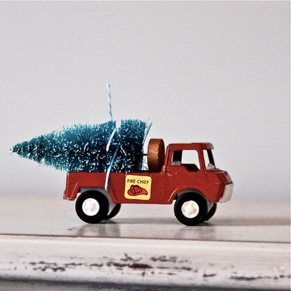 Toy Truck Hauling Bottle Brush Tree