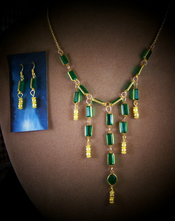 This is how to rock it like Poison Ivy-Shocking Green Necklace and Earrings Set by Sherry of 19th Day Minis