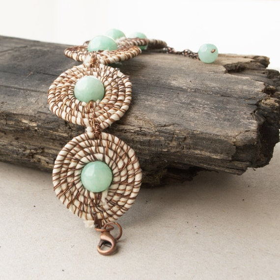 Fabric jade bracelet - boho chic jewelry