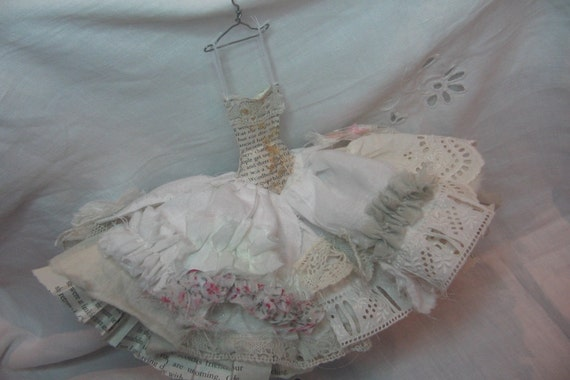 Assemblage Art Dress Made From Paper and Fabric - Vintage Lace