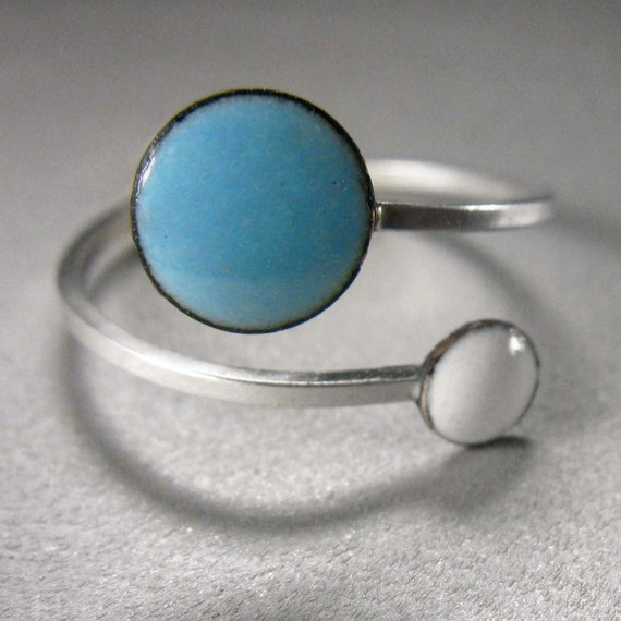 Orbit Enamel Ring: Sky Blue and Snow White, Adjustable Size, Kiln-fired Glass Enamel and Sterling Silver
