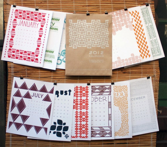 2012 Calendar - 12 Original Hand Printed Designs