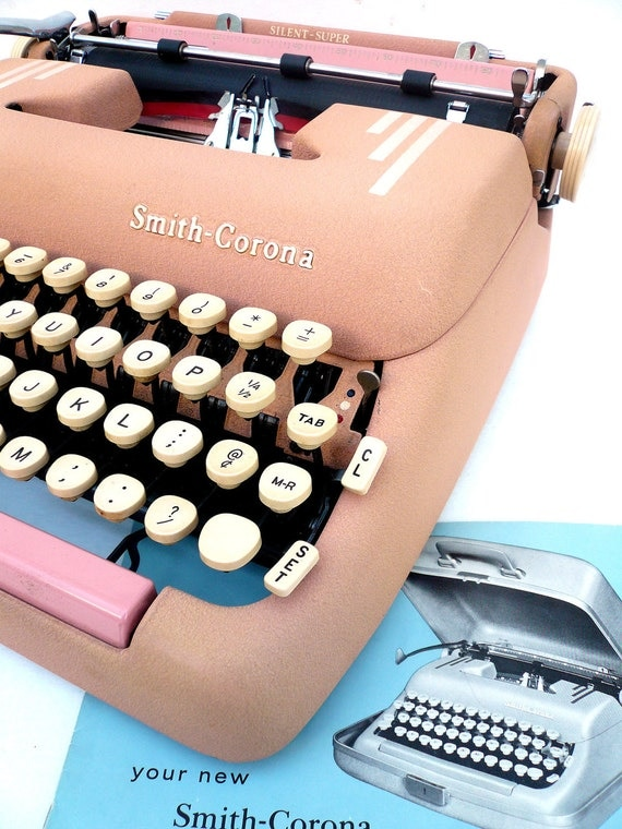 SERVICED 1955 Pink Corona Typewriter with Case and Copy of Owners Manual