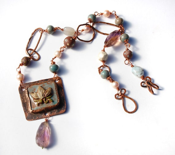 Lotus Dreams / Ceramic and Copper Art Bead Lotus Necklace