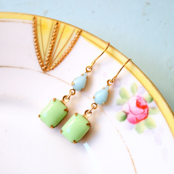 Retro Powder Blue and Mint Dangle Earrings