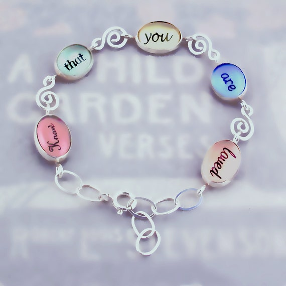 You Are Loved Word Bracelet in Sterling Silver and Glass