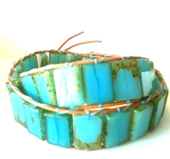 New Gorgeous End of Summer Ocean Blue Double Candy Wrap Leather Bracelet FREE SHIP USA