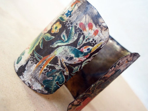 Mother Nature. Tea Tin Cuff Bracelet.