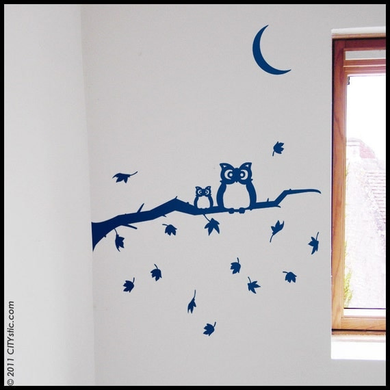 KIDS : Two Owls on an Autumn Branch falling leaves Wall Decal