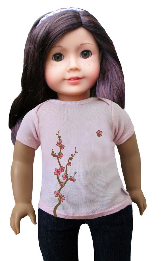 "matching cherry blossom T-shirt for 18"" doll"