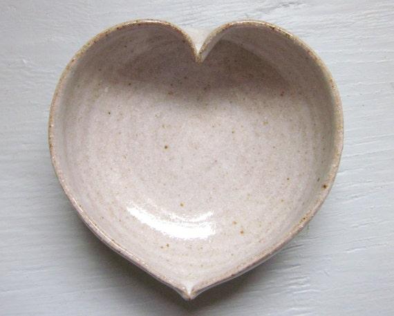 white ceramic heart bowl  - 3  inches