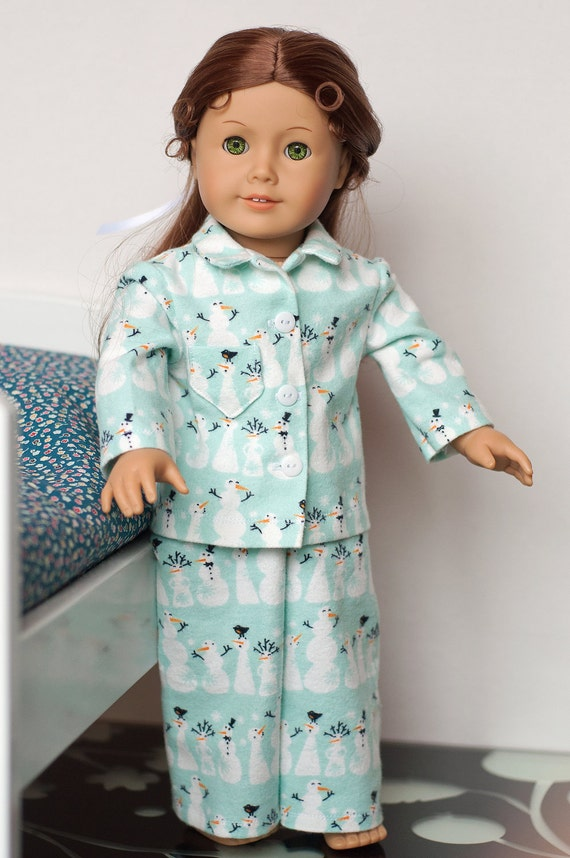 18 inch Doll Clothes: Snowman Pajamas for American Girl Dolls or other 18 Inch dolls