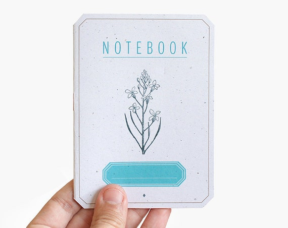 notebook plant flower blue label