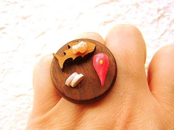 Kawaii Sushi Anello in miniatura giapponesi gioielli alimentari tradizionali
