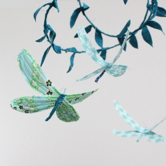 CUSTOM Dragonfly Mobile - handmade fabric mobile for Woodland Nursery Decor