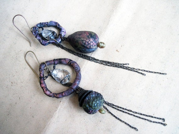 His Transcendence in Plain Sight. Rustic Assemblage Dangles with Polymer Art Beads.
