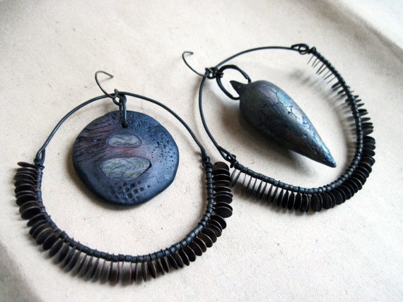 Turning Air into Fiona. Rustic Assemblage Hoops with Polymer Art Beads.