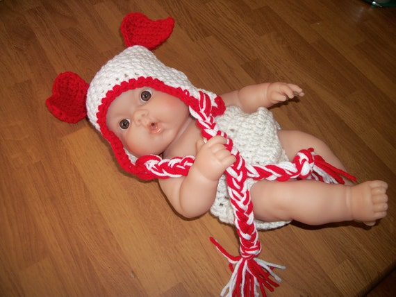0-3 Month Valentine Hat and Diaper Cover Set - Photo Prop Red and White