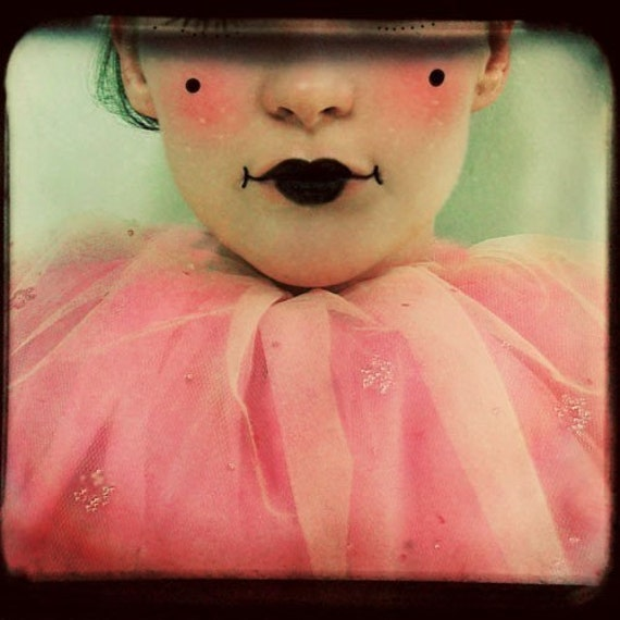 Clown Photograph - For A Lark 5x5 Ttv Print - clown portrait honeysuckle pink photography