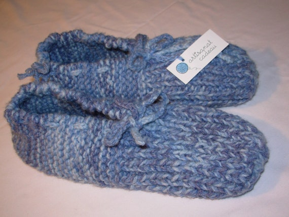 Slippers knitting    for man    ex-large   10-13  with   SECURE SOLES