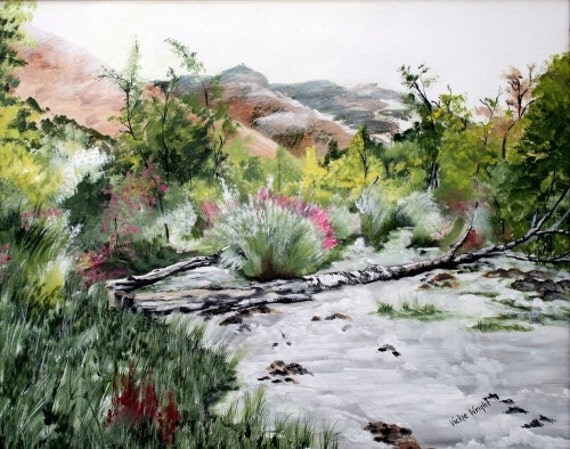 Landscape painting print, Rustic Landscape painting print, nature decor, wall art, home decor