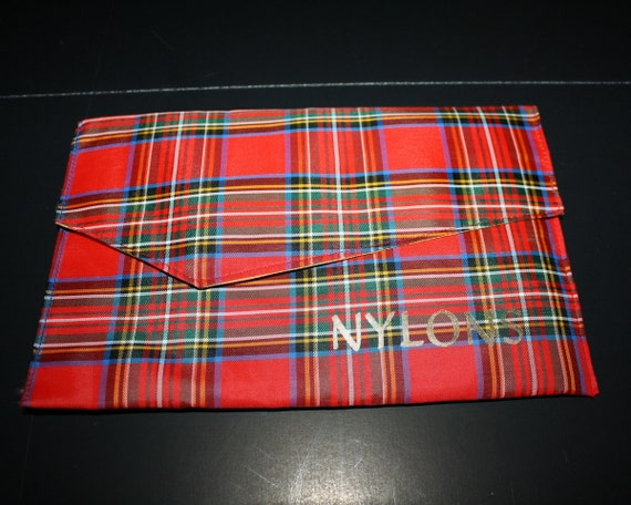 Vintage Tartan Red Plaid Nylon or Lingerie Bag 1950s Unused Scotland Holds a Kindle