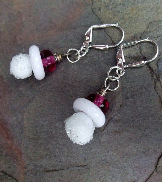Snow Baby White and Pink Silver Earrings