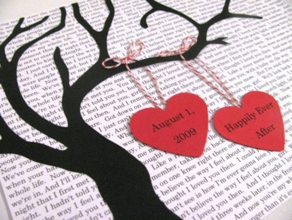 Personalized Tree Silhouette Art- Wedding, Valentine's Day, Anniversary- custom text background 2 personalized hearts
