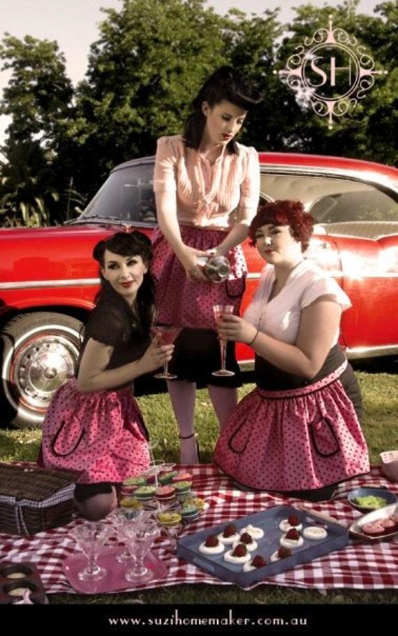 Cotton Candy Pink Black Polkadot 50's Sexy Hausfrau apron Rockabilly Picnic Cocktail Baking
