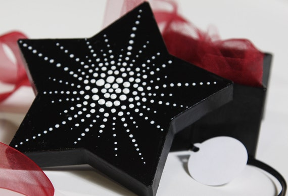 Star Gift Box Set - Hand Painted Black and White with Wine Red Ribbon