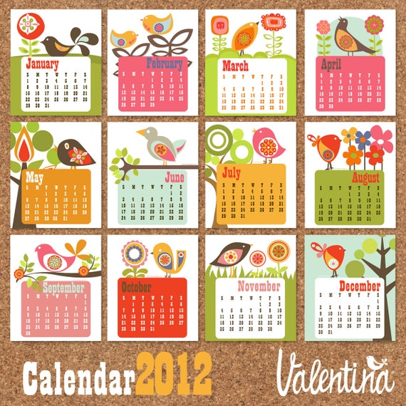 Birds in the Tree Calendar 2012  printable PDF files