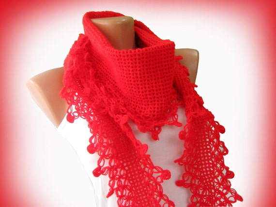 Sexy Red hand knit scarf. Multicolor, hand knit, womens scarf. Personalized Design. Neckwarmer, scarflette...