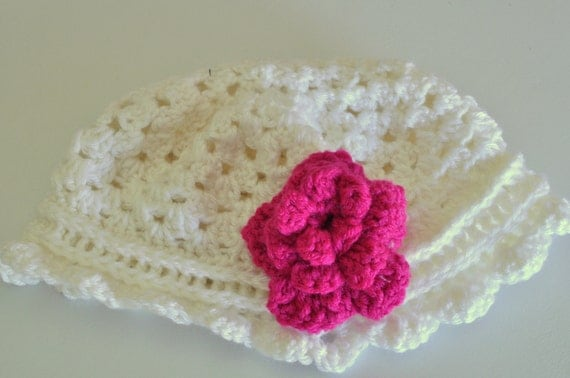 Toddler Girls White Crochet Hat with Pink Flower