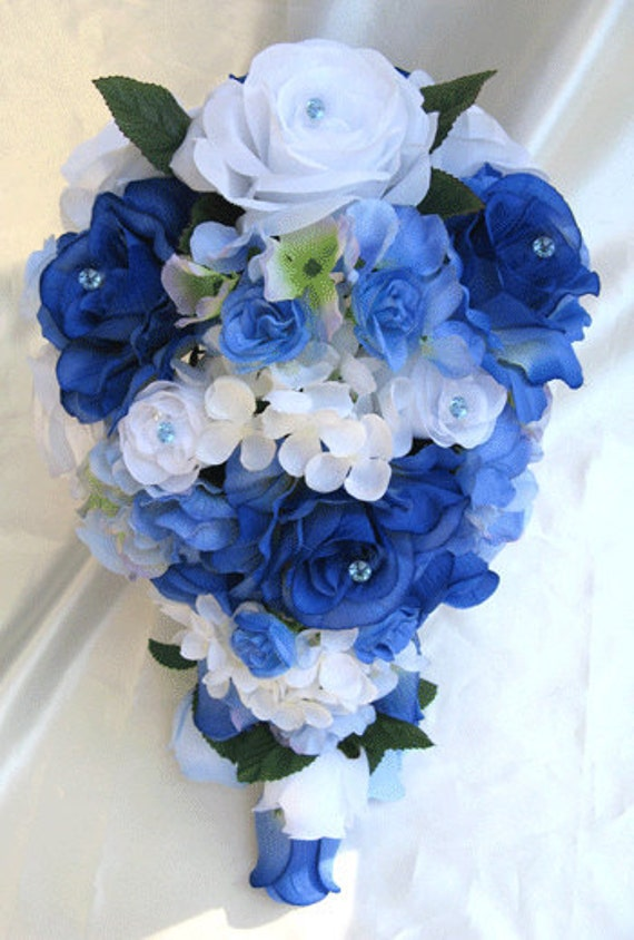 Wedding bouquet Bridal Silk flowers Cascade ROYAL BLUE WHITE Periwinkle