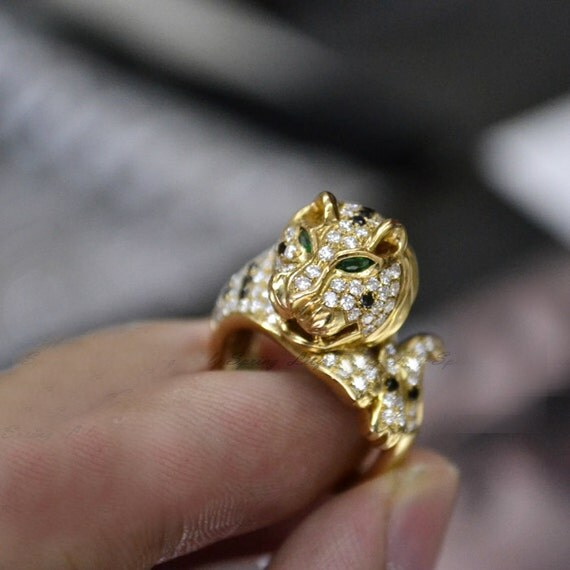 Engagement Ring - Jaguar Ring With Emerald, Diamonds, 14K Gold
