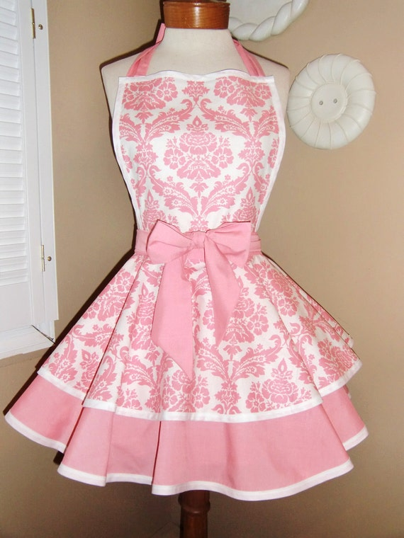 Pink Damask Print Womans Retro Apron With Tiered Skirt And Bib