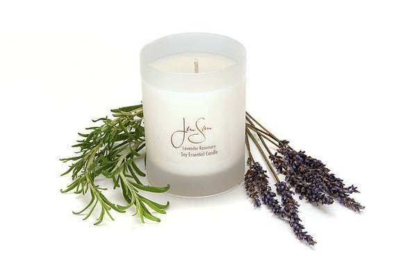 Lavender Rosemary Soy Essential Oil Aromatherapy Candle, Eco friendly, small 8 oz (227 grams)