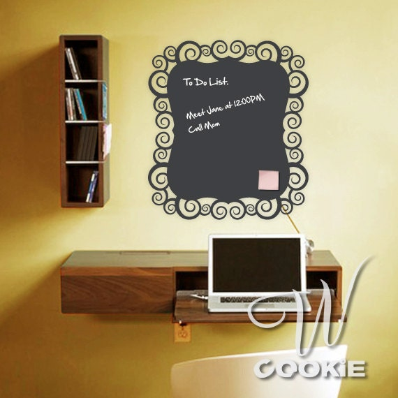 Swirl Shaped Chalkboard Vinyl Decal
