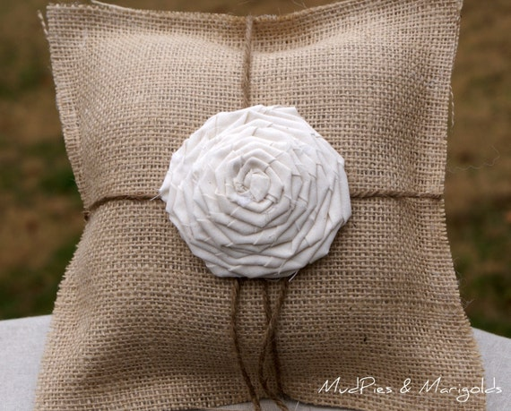 Burlap Ring Bearer's Pillow with Large Rosette, white, rustic, shabby chic, beach, garden, outdoor, farmhouse, country, woodland