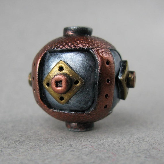 Steampunk Polymer Clay Bead Set of Three