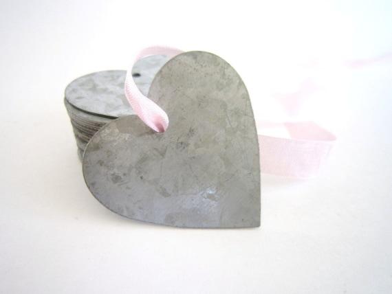 Wedding Heart -3 Tin Heart Tags - Tin Heart Ornaments Zinc Heart Tags Wedding decor wedding favors wedding decorations wedding gifts diy