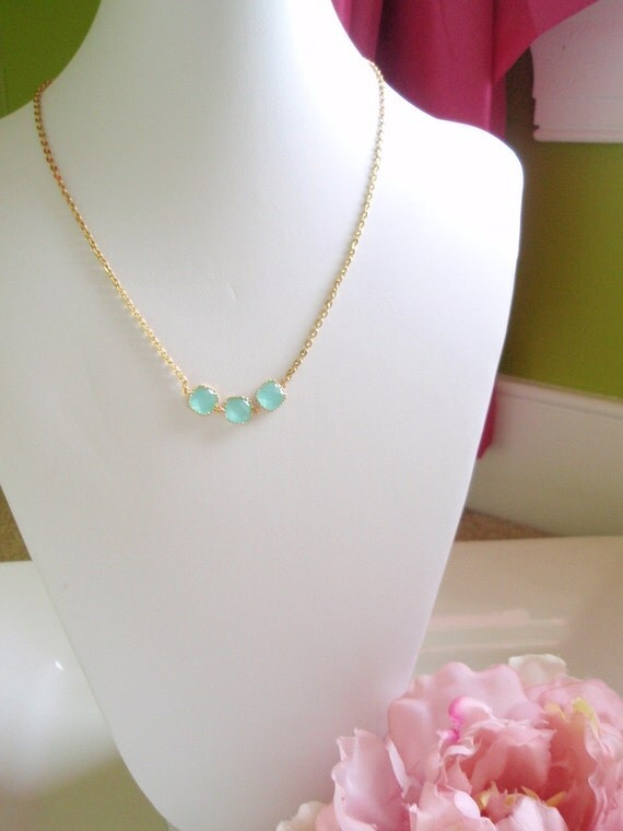 OLIVIA - Gold Wrapped Iced Aqua Necklace